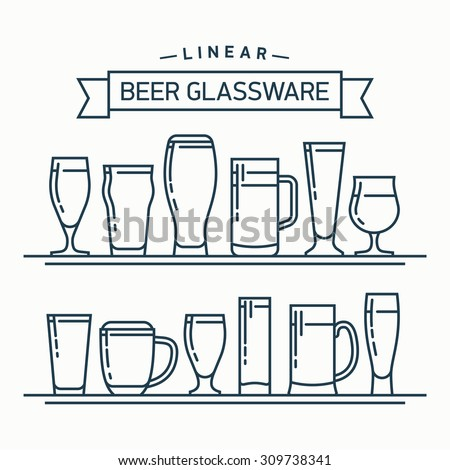 Lovely linear flat design vector beer glassware set | Various types of beer glasses, mugs and goblets in trendy outline style featuring stout, lager, porter, ale, pilsner and other beer glasses - stock vector