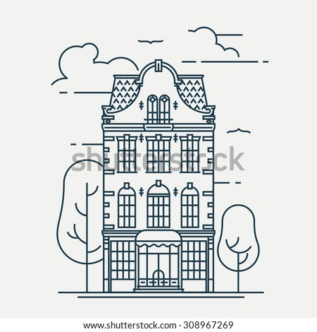 Lovely linear town building facade | Thin line urban graphic and web design element featuring beautiful house with mezzanine attic, trees and clouds - stock vector
