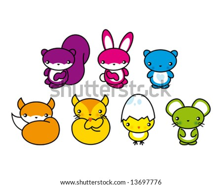 lovely little creatures - stock vector