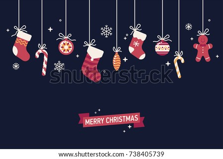 Lovely minimalistic Winter holidays season background with christmas traditional items