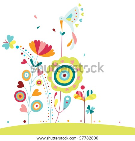 Lovely nature elements - colorful plants and hummingbird - stock vector