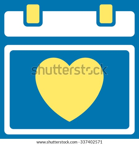 Lovely Organizer Date vector icon. Style is bicolor flat symbol, yellow and white colors, rounded angles, blue background. - stock vector
