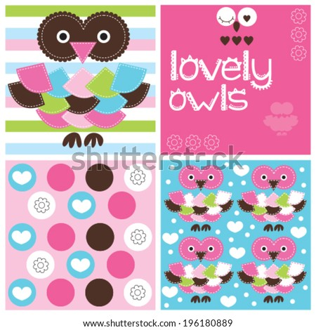 lovely owls and pattern vector illustration - stock vector
