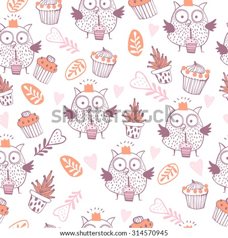 Lovely owls in vector. Seamless pattern can be used for wallpapers, pattern fills, web page backgrounds, surface textures. Happy Birthday background - stock vector
