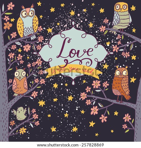 Lovely owls on branch in night flowers. Romantic concept background. Bright illustration, can be used as invitation card. Love is all you need - vector summer wallpaper - stock vector