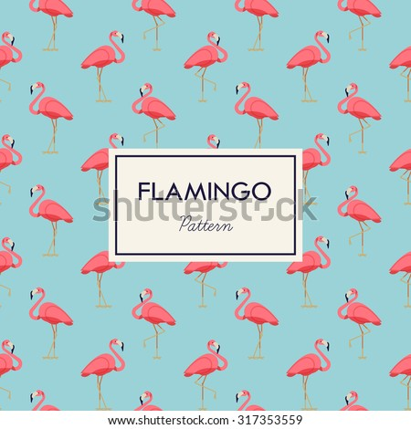 Lovely pink flamingo vector flat seamless pattern in light blue and pink color scheme. Ideal for wrapping paper printables, website background, wallpaper and fabric design. Artwork on separate layer - stock vector