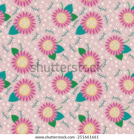 lovely pink flower seamless pattern over pink background - stock vector