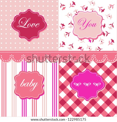 Lovely pink patterns, frames and cute romantic backgrounds