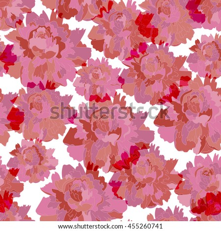 Lovely pink peonies seamless pattern, vector isolated