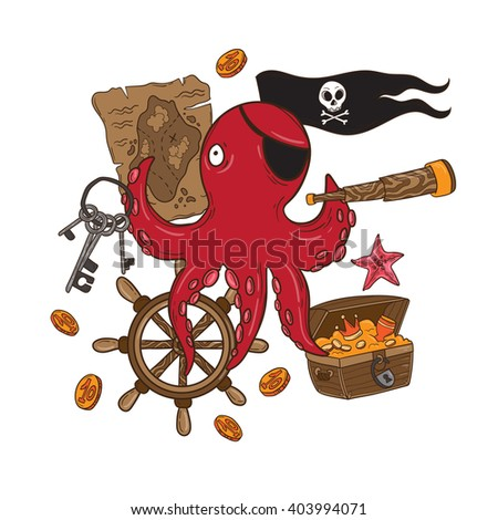 Lovely pirate octopus in vector. Sweet inspirational illustration with lovely pirate, map, anchor and treasure in bright colors. Cute funny pirate in vector