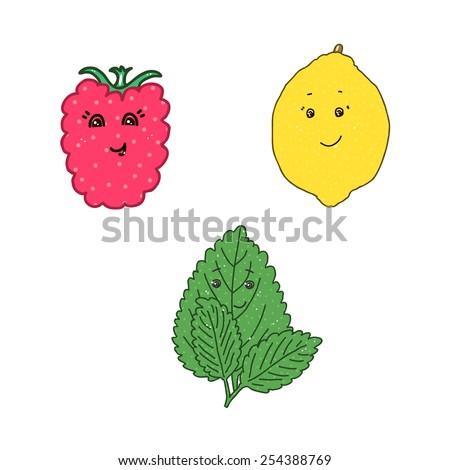 Lovely raspberry, lemon and mint on a white background. Vector illustration. - stock vector