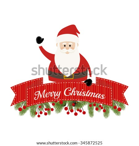Lovely Santa Claus and Fir Branches - stock vector