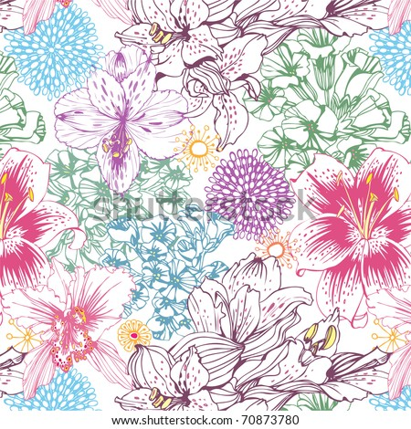 lovely seamless pattern with colorful flowers - stock vector