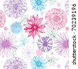 lovely seamless pattern with pink, violet and blue flowers on white background - stock photo
