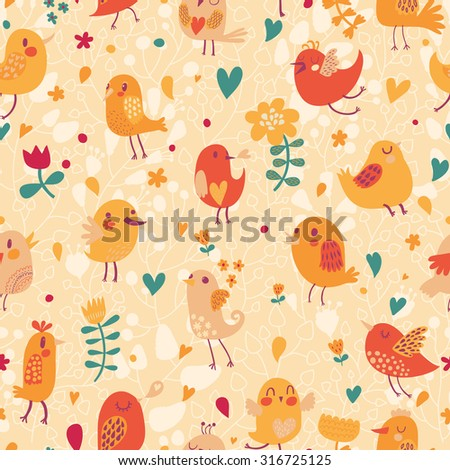 Lovely seamless pattern with small birds and flowers. Spring vector background in bright colors. Seamless pattern can be used for wallpapers, pattern fills, web page backgrounds, surface textures