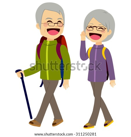 Lovely senior couple laughing and talking walking wearing climbing clothing and equipment - stock vector