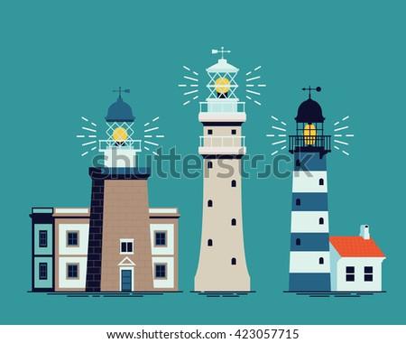 Lovely set of vector cartoon flat design light houses. Ocean shore background element lighthouse building in three variations - stock vector