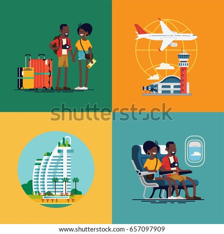Lovely set of vector concept illustration on african traveling couple. Young adult african american couple traveling visuals with luggage, airport terminal, plane, resort hotel and liner cabin seats