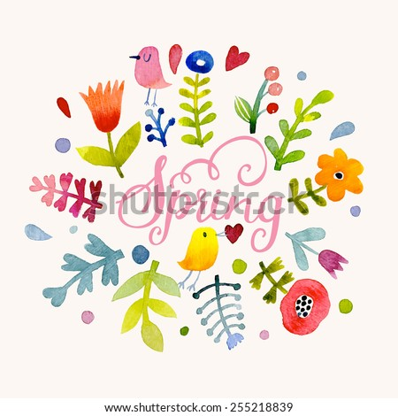 Lovely spring concept card. Awesome flowers and birds made in watercolor technique. Bright romantic card with summer flowers in vector.  Charming Save the Date background