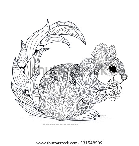 lovely squirrel coloring page in exquisite style - stock vector