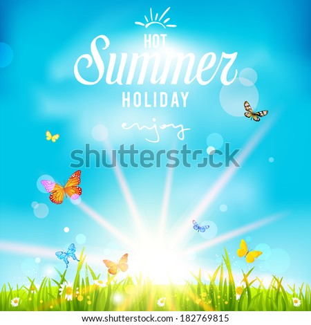 Lovely summer holiday background. Vector illustration with bright sunlight and blue sky - stock vector