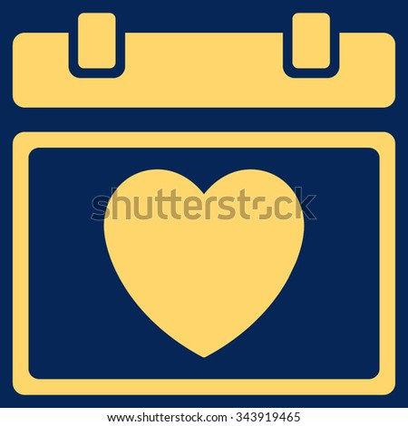 Lovely Syllabus Date vector icon. Style is flat symbol, yellow color, rounded angles, blue background. - stock vector
