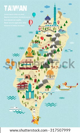 lovely Taiwan travel map in flat design style - stock vector