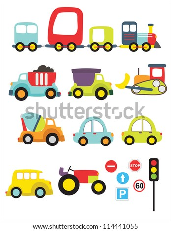 Lovely transport set - stock vector