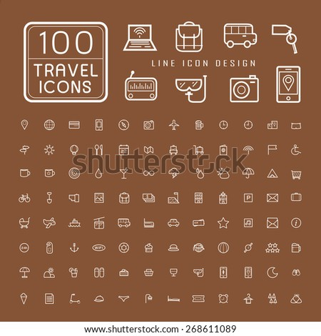 lovely 100 travel icons set over brown background - stock vector