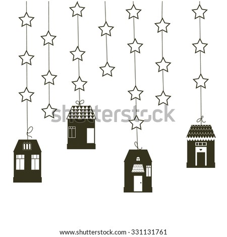 Lovely vector background with garland of houses and stars - stock vector
