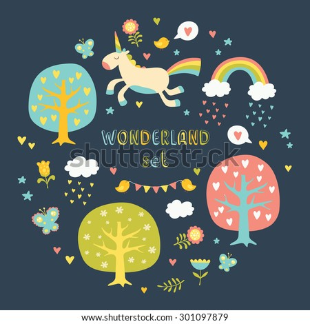 Lovely vector collection set with cute unicorns, trees, hearts, birds, clouds, rainbows, butterflies and flowers in bright colors. - stock vector