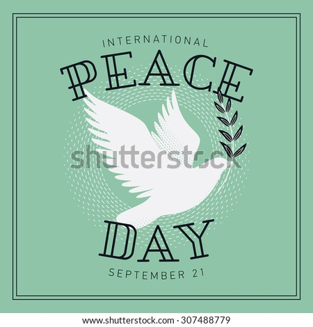 Lovely vector holiday postcard, poster or web banner template on International Peace day - stock vector