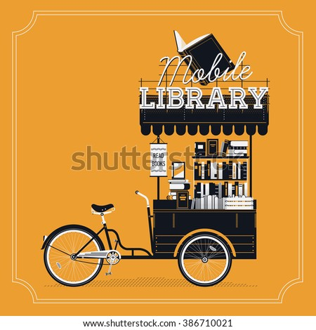 Lovely vector Mobile Library bicycle cart vintage background. Portable book bike trailer cart on wheels with stacked books, awning and sign. Book market or fair decorative item - stock vector