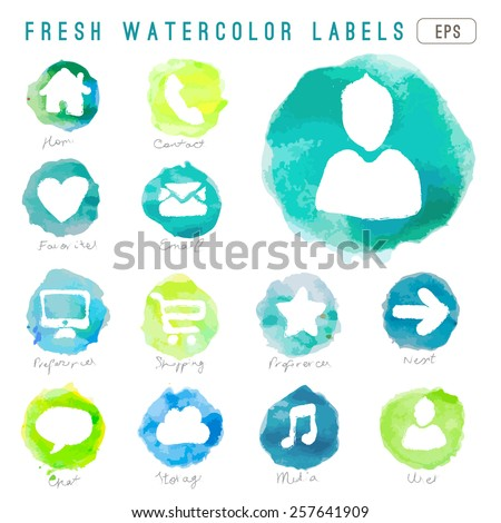lovely vector set of watercolor web icons in eps  - stock vector