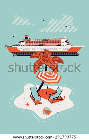 Lovely vector web icon with rounded corners on seaway travel and resort cruise tourism with cruise ship liner, abstract island paradise with palm, chaise lounge and parasol umbrella sunshade - stock vector