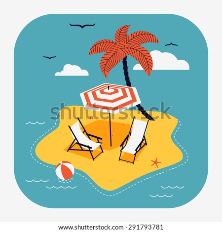 Lovely vector web icon with rounded corners on travel and summer vacation with abstract island paradise with palm, chaise lounge and parasol umbrella sunshade - stock vector