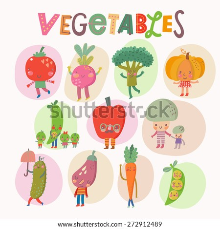 Lovely vegetables concept set in vector. Tasty mushrooms, bell pepper, pumpkin, eggplant, broccoli, beet, pear, tomato, cucumber and carrot in funny cartoon style - stock vector