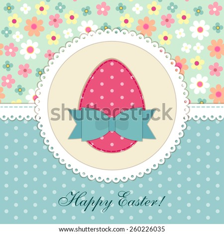 Lovely vintage Easter card with patch fabric applique of egg in shabby chic style - stock vector
