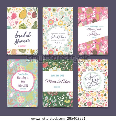 Lovely wedding romantic collection with 6 awesome cards made of hearts, flowers, wreaths and birds. Graphic set in retro style. Sweet save the date invitation cards in vector - stock vector