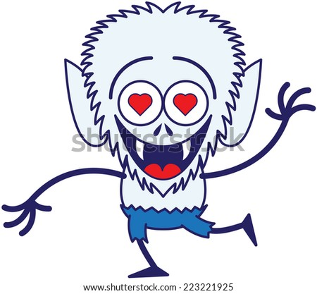 Lovely werewolf with big head, sharp fangs, red heart eyes, pointy ears, blue pants and blue fur while laughing enthusiastically and feeling madly in love - stock vector