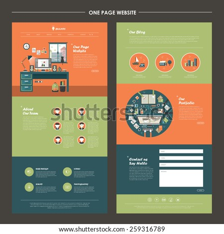 lovely workplace one page website design template in orange and green - stock vector
