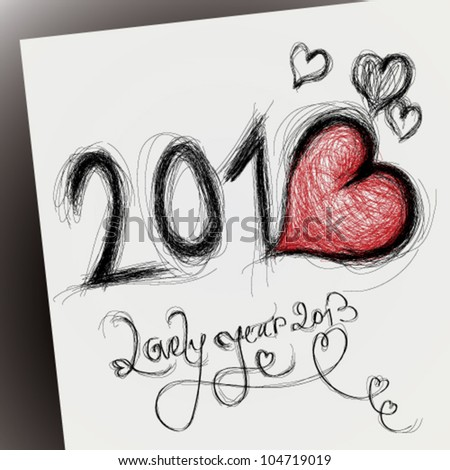Lovely year 2013 / Happy new year card with heart - stock vector