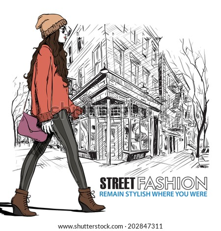 Lovely young girl in sketch-style on a street cafe background. Vector illustration - stock vector