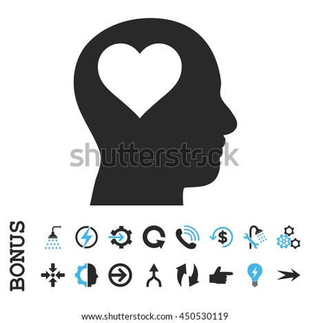 Lover Head vector bicolor icon. Image style is a flat pictogram symbol, blue and gray colors, white background. - stock vector
