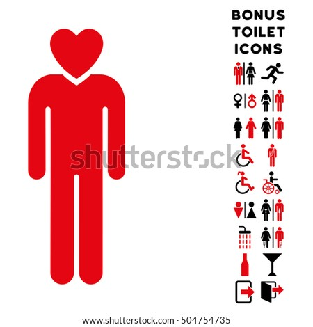 Lover Man icon and bonus male and woman lavatory symbols. Vector illustration style is flat iconic bicolor symbols, intensive red and black colors, white background.