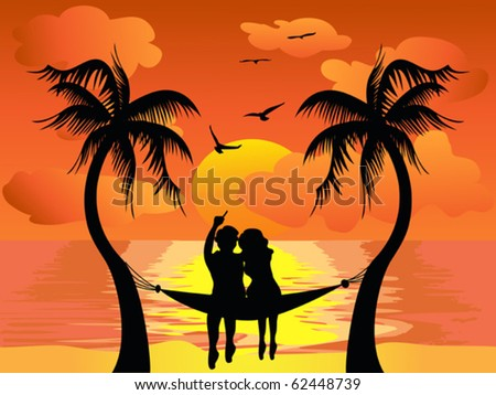 lover watching sunset - stock vector