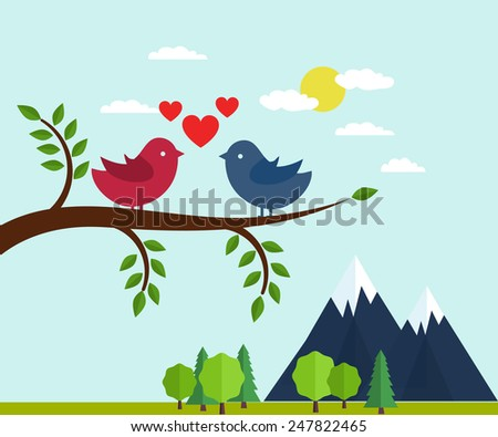 Lovers and happy birds on tree with hearts. Vector illustration - stock vector