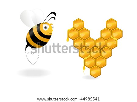 lovers bees with heart