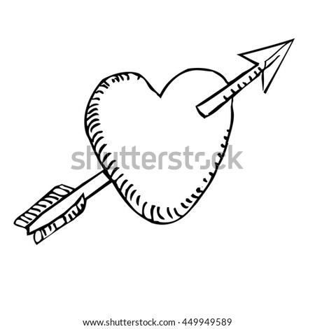 Lovers heart - drawing - stock vector