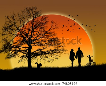 Lovers in a park under sunset, vector illustration